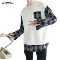 New Spring Autumn 2018 Men Pullover Patchwork Sweatshirts Plaid Sleeve Classic Fashion Hoodie Hip Hop Ripped