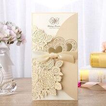 1 шт. образец белая Золотая лазерная резка свадебные пригласительные карты персонализированные пользовательские печати с лентой конверт Свадебные украшения
