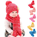 Winter Crochet Baby Hat Girl Boy Scarf Sets Cap Baby Hats Kids Girls Boys Warm Woolen Caps Infant Lovely Baby Beanies Shipping