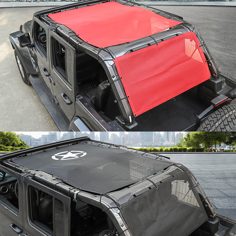 SHINEKA Car Cover For Jeep Wrangler JL Accessoire Sunshade Cover Roof UV Proof Net Trunk Shading Net For Jeep Wrangler JL 2018 in Car Covers from Automobiles Motorcycles