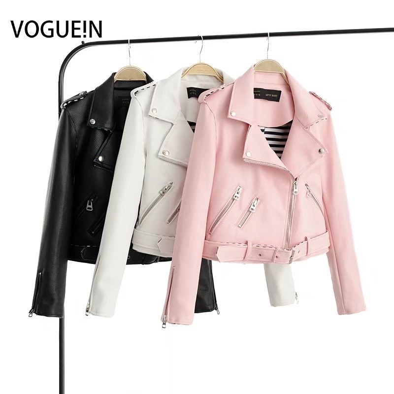 VOGUEIN New Womens Ladies Fashion Faux   Leather   Motorcycle Coat Jacket 3 Colors Wholesale