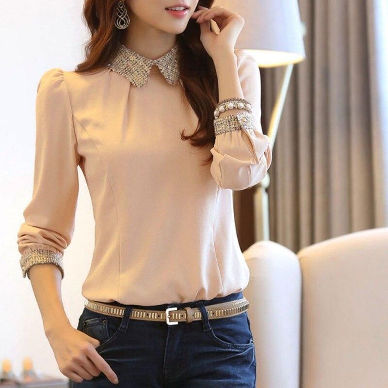 Fashion Women Turn-Down Collar Chiffon   Blouse     Shirts   Elegant Office Lady Slim Long Sleeve Basic   Shirts