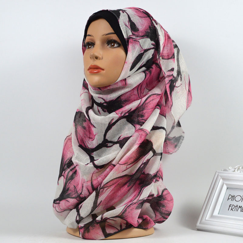 Nice Floral Printed Gold Lurex Glitter Scarf Hijab Muslim Shimmer Headwear Flower Wraps Women Fringed Scarves