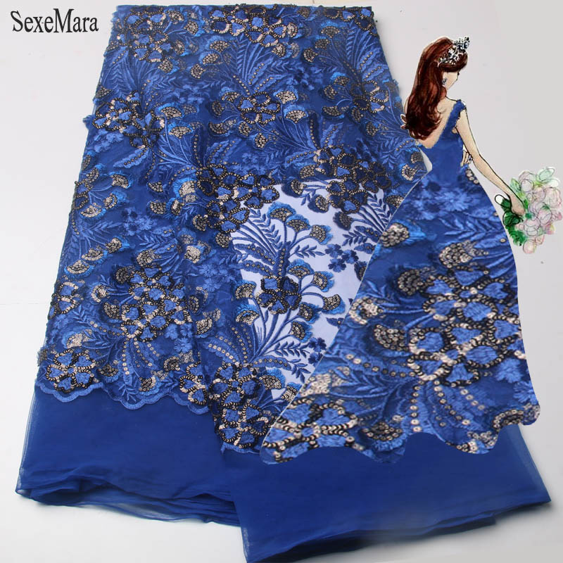 SexeMara 2017 Latest african cord lace fabric african swiss voile lace high quality fashion french  fabric gold lace