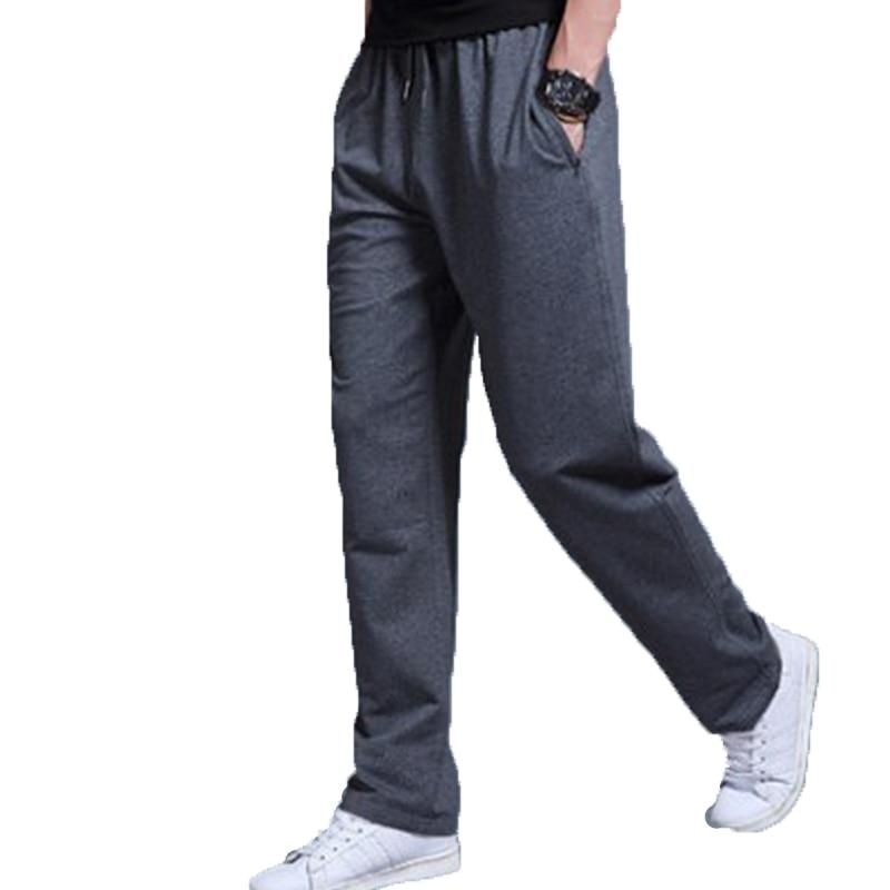 Cotton Men's Casual Pants 2019 Spring Summer Men's Sweatpants Trousers Mid Waist Loose Straight Sweatpants Trousers