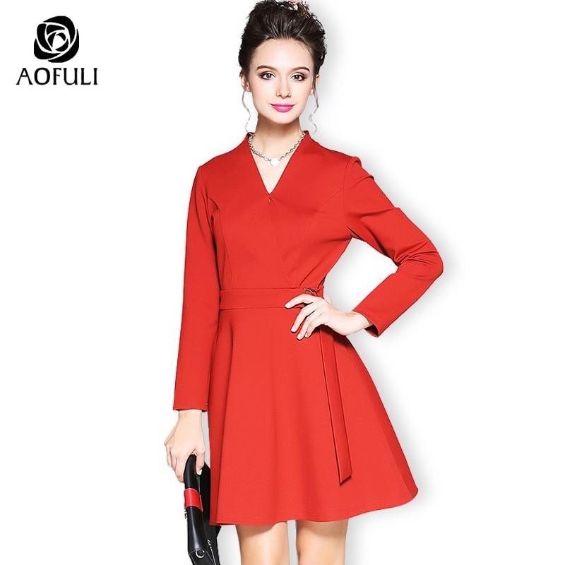 Aofuli 브랜드 여성 v 목 a 라인 드레스 플러스 크기 크로스 긴 소매 솔리드 드레스 리본 벨트 패션 레드 m 4xl 5xl b6158-에서드레스부터 여성 의류 의  그룹 1