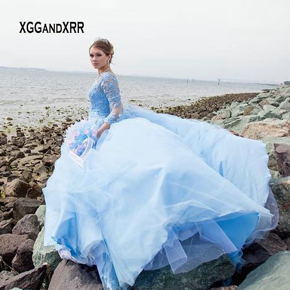 4b04e4e1ef Blue Long Sleeves Ball Gown Quinceanera Dresses 2019 Sweetheart Lace  Applique Princess Puffy Prom Dress Girls Sweet Dress 15 16