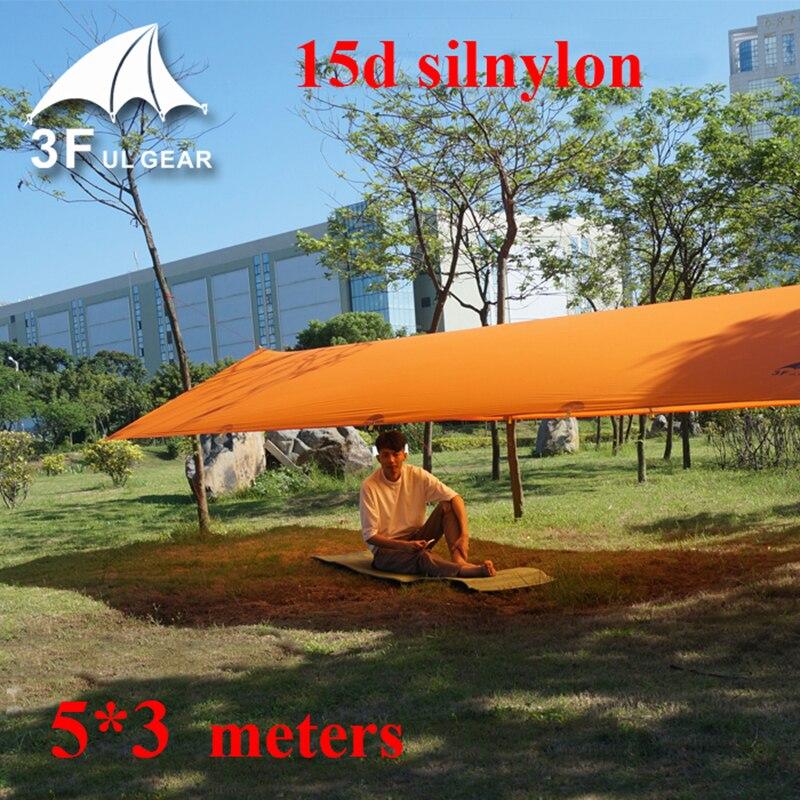 3F UL Gear 5 3m 15D silnylon light weight large outdoor tarp shelter high quality beach