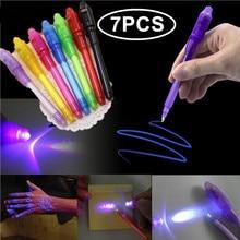 7 шт./компл. Творческий Волшебные UV светильник ручка невидимые чернила ручки светится в темноте ручка со встроенной UV светильник подарки и безопасности маркировки