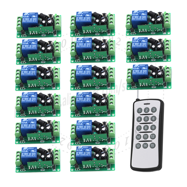 DC 15CH relay wireless RF long range remote control 12v Switch Light on off 1 Transmitter +15 Receiver 315/433 MHz SKU: 5110