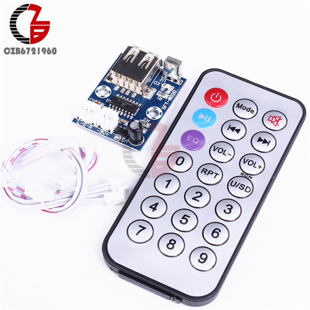 12V Mini WAV MP3 Decoder Board Lossless Decoding Module 2 Channel Output For Music Audio Player USB Sound Card +Remote Control