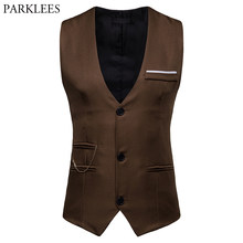 Mens Fashion Chain Vest 2019 Brand New Slim Fit Single Breasted Vest Waistcoat Men Buisenss Casual Wedding Chalecos Para Hombre(China)
