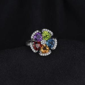 Image 2 - JPalac Flower Natural Amethyst Citrine Garnet Peridot Topaz Ring 925 Sterling Silver Rings for Women Silver 925 Gemstone Jewelry