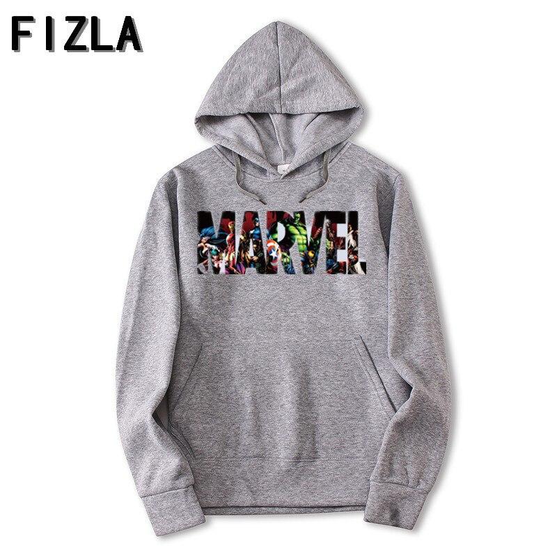 FIZLA Neue Marke Marvel Hoodies männer hohe qualität Lange ärmeln Casual männer Sweatshirt Hoodies marvel druck Hoodie Trainingsanzüge männlichen