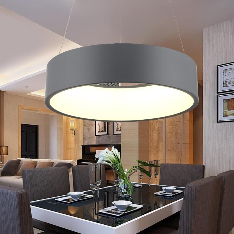 moderno d450mm rotondo cerchio lampada a sospensione 85 265 v 28 w led cucina sala