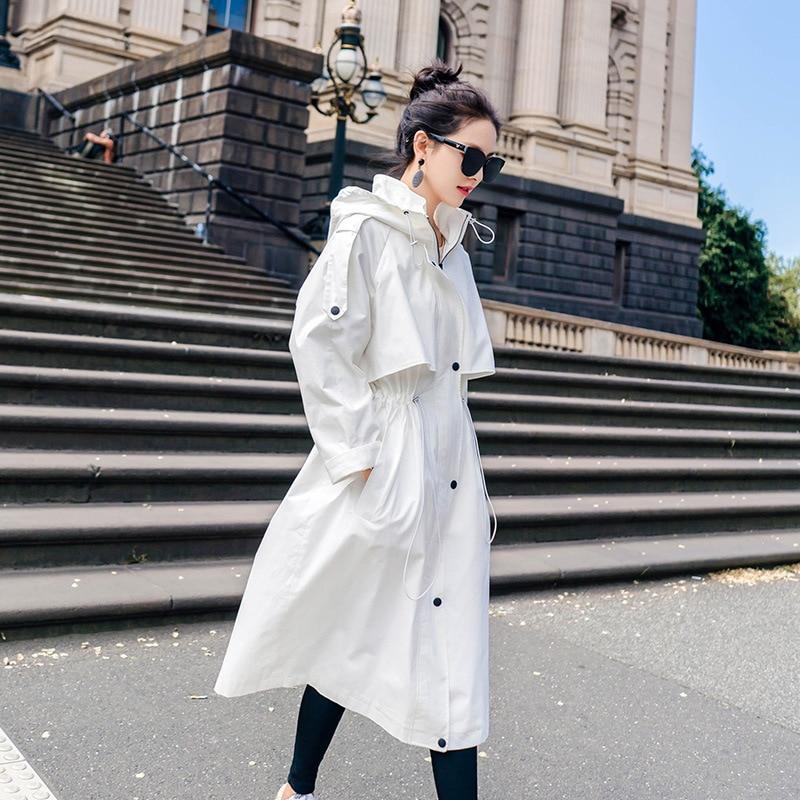 White Women   Trench   Coat Spring 2018 Autumn New Student BF Loose   Trench   Coat X-Long Epaulet Adjustable Waist