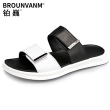 купить white leisure sandals men fashion all-match cowhide beach slippers men Flip Flops casual Shoes beach outdoor summer anti-skid по цене 3092.58 рублей