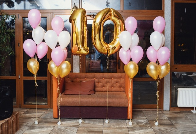Laeacco Happy 10th Birthday Balloon Party Sofa Children Photographic Backgrounds Photography Backdrops For Photo Studio