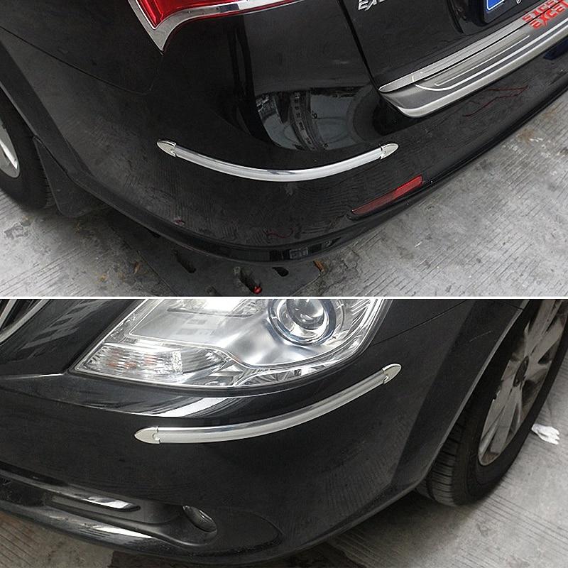 4Pcs Silver Chrome Bumper Corner Guard Protector Car Vehicle Decoration Strip