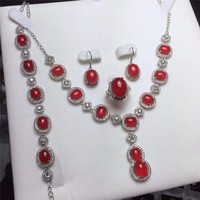 Koraba Fine Jewelry 925 Silver Inlaid Natural Red Chalcedony Pendant Necklace Ring Bracelet Earring Set Gifts Free Shipping