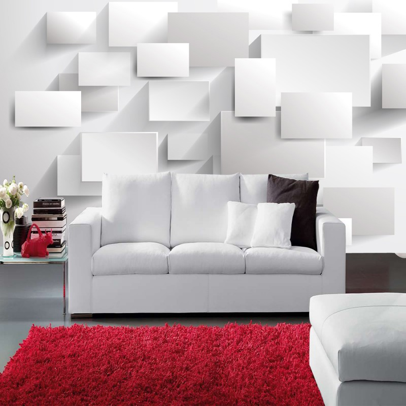 Beibehang Embossed Cubic Abstract Photo Wallpapers 3D Wallpapers Large Wall Murals For Custom White Brick Background Wall Paper
