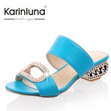 KarinLuna 2016 Women Sandals Ladies Summer Slippers Low Heels Large Size 34-43 Fashion Rhinestone Shoes Woman Slides