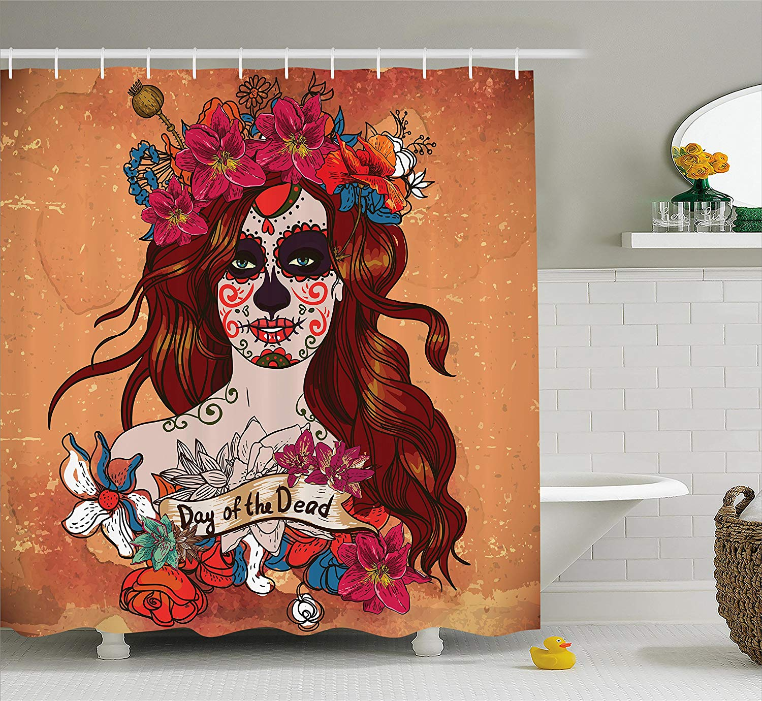 Day Of The Dead Shower Curtain Dia De Los Muertos Spanish Mexican Festive Skull Art Fabric Bathroom Set 70 Inches Cinnamon