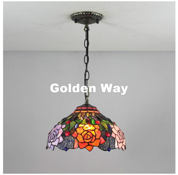 где купить Free Shipping Baroque Restaurant Tiffany Country Light Classic 12 Inches Pendant Lighting Living Room Stained Glass Pendant Lamp дешево