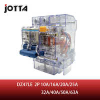 DZ47LE 10A 16A 20A 25A 32A 40A 50A 63A 2 polos transparente corriente residual Disyuntor de fuga a tierra ELCB disyuntores RCBO