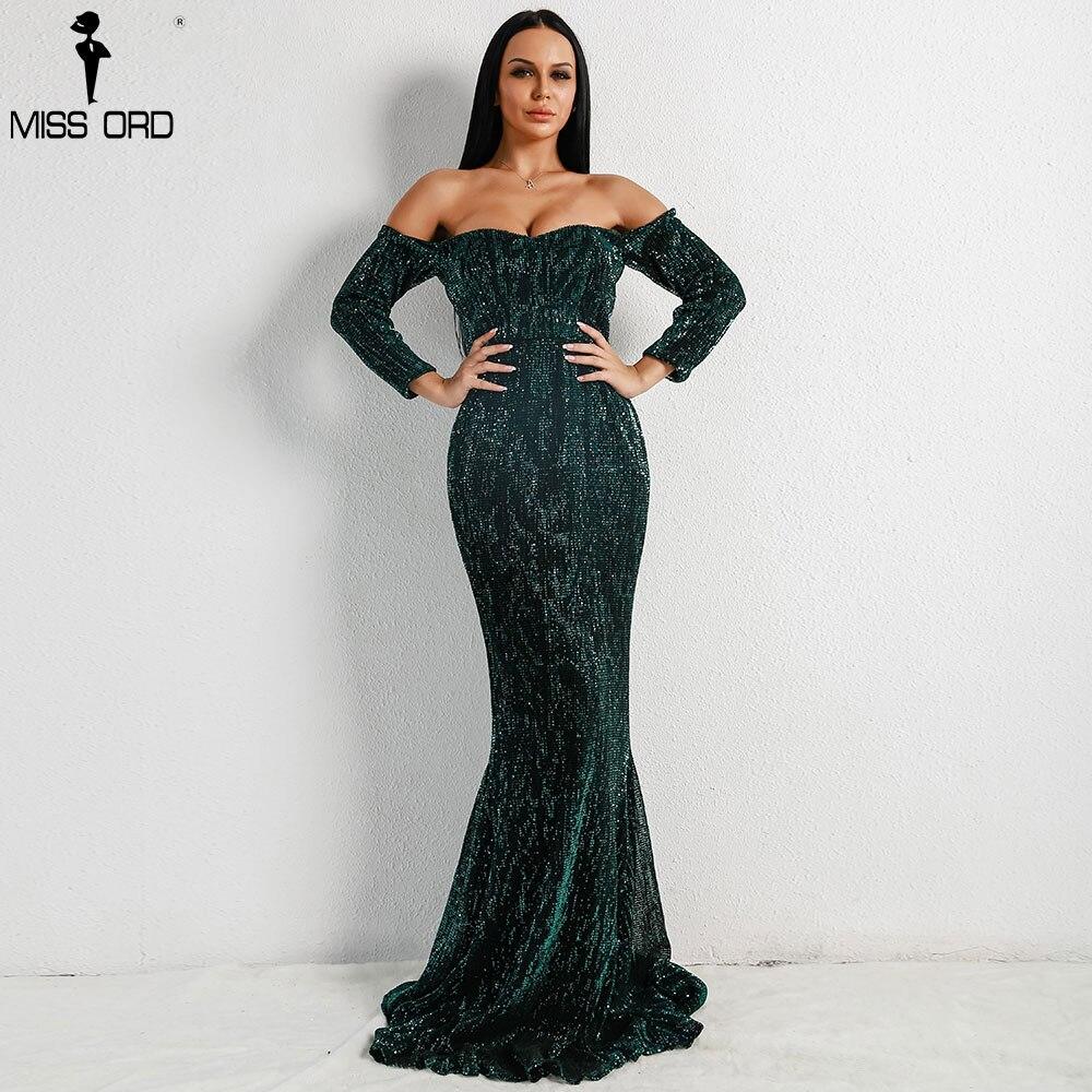 Missord 2018 сексуальный бюстгальтер с длинным рукавом Off Shoulder Sequin спинки платья Для женщин тощий Макси Вечерние элегантное платье FT8714-1