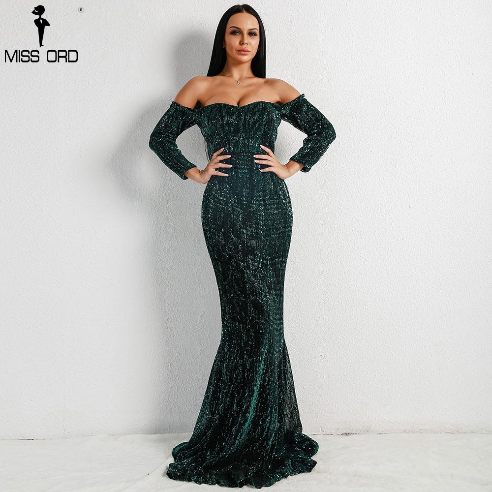 Missord 2018 Sexy BRA Long Sleeve Off Shoulder Sequin Backless Dresses Women Skinny Maxi Party Elegant Dress FT8714-1