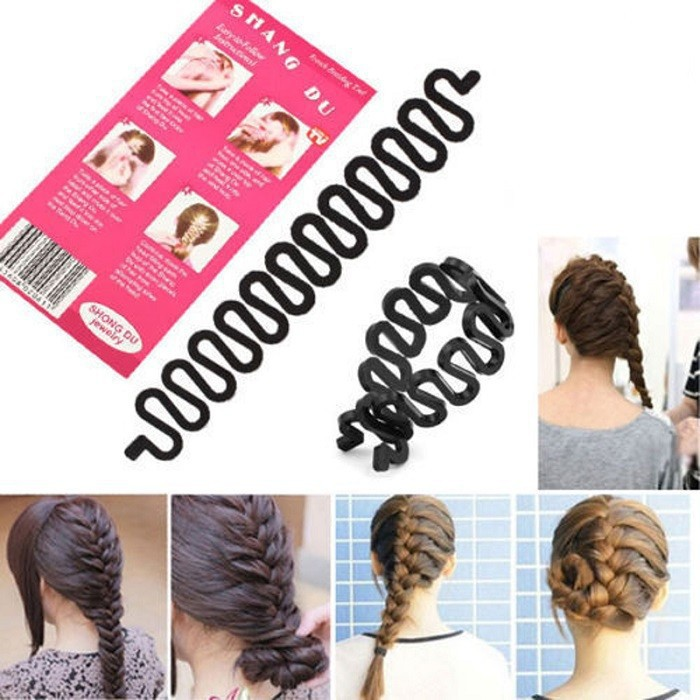 1 PC Women Lady French Hair Braiding Tool Braider Roller Hook With Magic Hair Twist Styling Bun Maker Hair Band