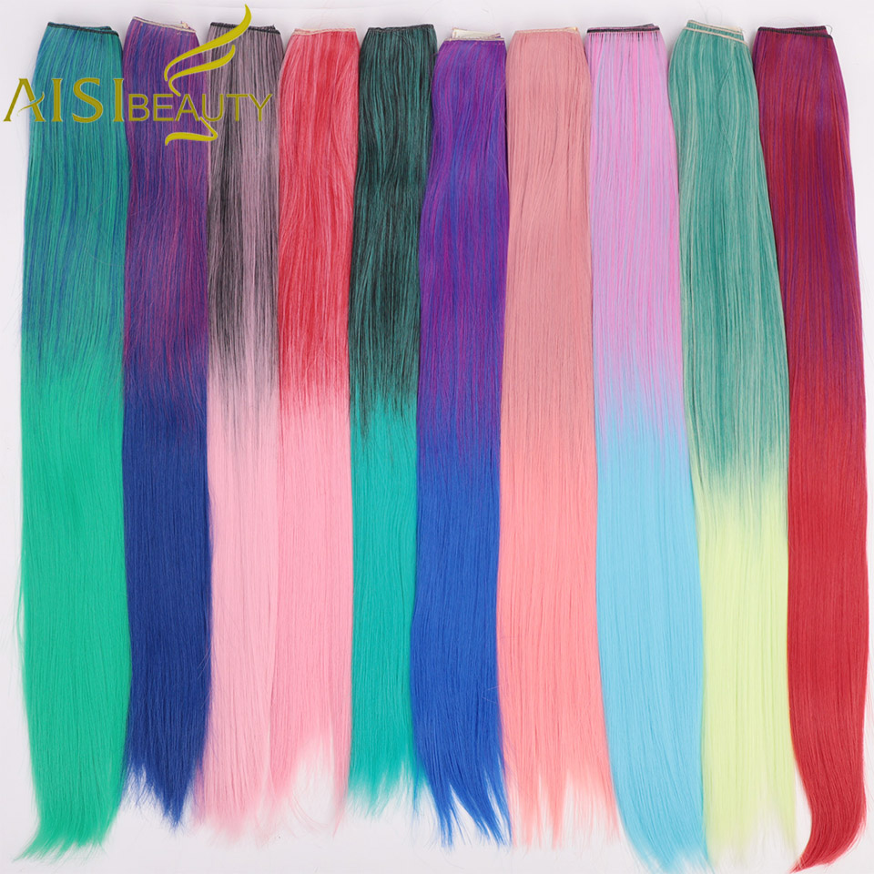 "AISI BEAUTY Clip One Piece Synthetic Long Straight Hair Extension Ombre Pink Purple 22"" Hairpiece False Rainbow Colorful Women(China)"
