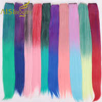"""AISI BEAUTY Clip One Piece Synthetic Long Straight Hair Extension Ombre Pink Purple 22"""" Hairpiece False Rainbow Colorful Women"""