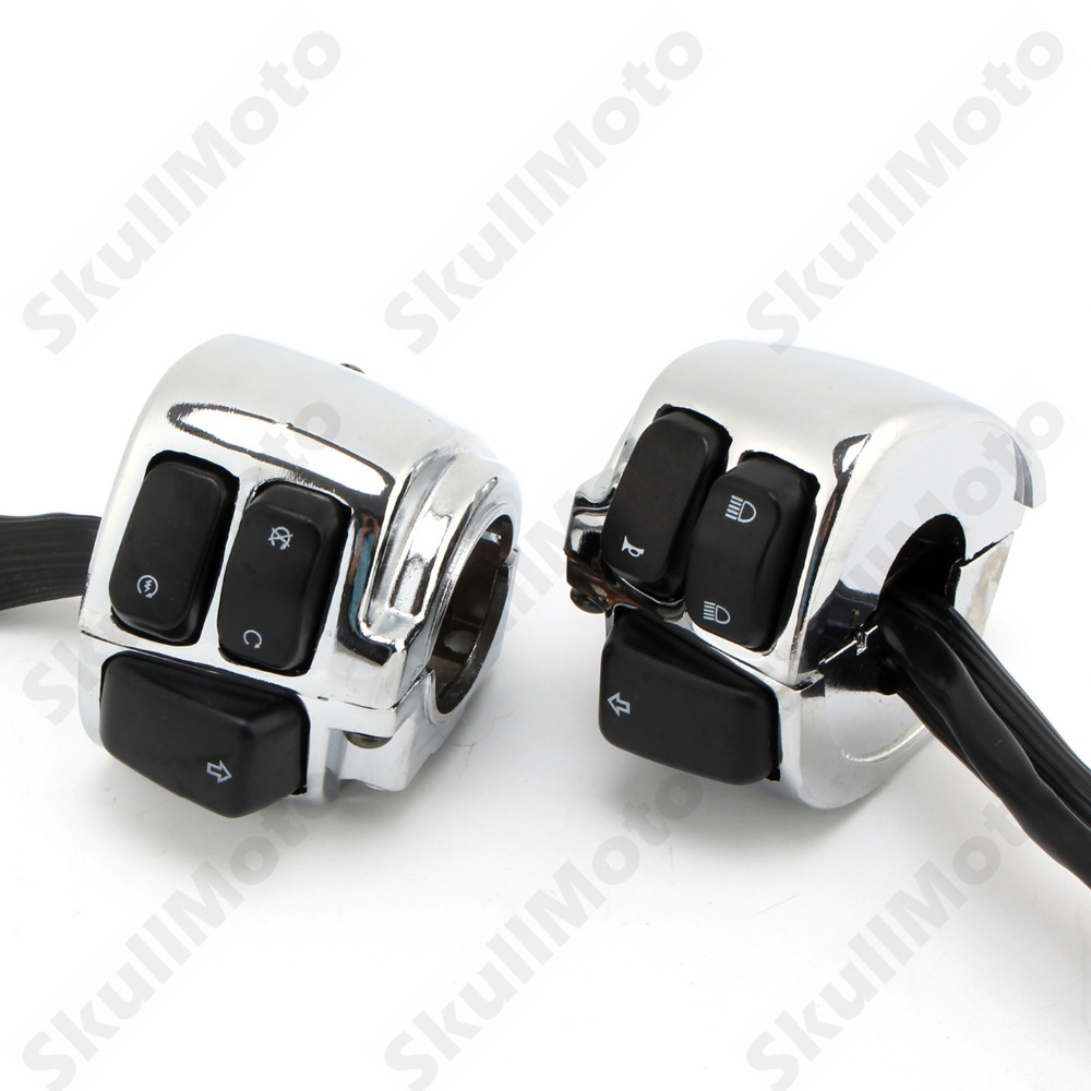 Chrome Motorbike Parts 1 Handlebar Switches Control Kit +Wiring Harness For Harley Touring Without Cruise Control UNDEFINED 1 pair motorcycle 1 handlebar control switches black wiring harness for harley davidson