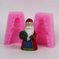 3D חג המולד עובש סיליקון עובש עוגת סיליקון נר חג המולד סנטה קלאוס חצוצרה E415