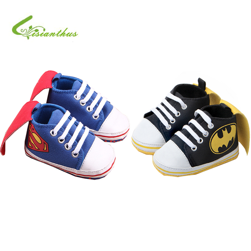 New Superman Baby Shoes 2019 New Fashion Batman Cartoon Toddler Infants Shoes 11cm 12cm 13cm Baby Boys Shoes First Walkers
