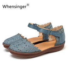 Whensinger-2017 Новое Прибытие Лето Женщины Обувь Из Натуральной Кожи Сандалии Hook & Loop Дизайн 651