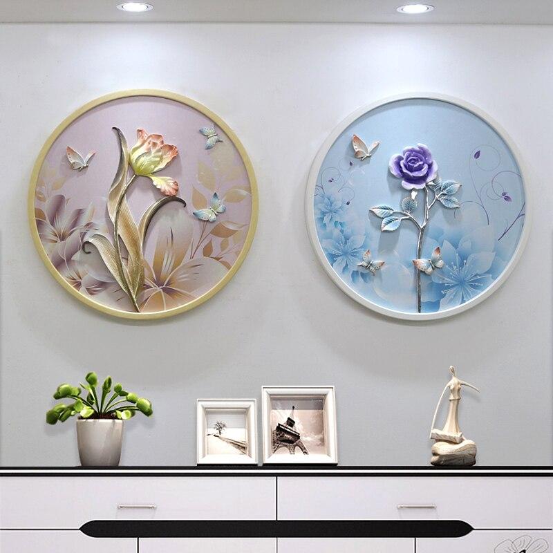 3D en relief résine fleurs maison tenture murale papillon artisanat fond Mural ornement mariage salon mur décor R2073
