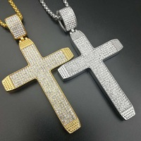 Hip hop Silver Gold Color Crucifix stainless steel Pendant Necklace Full Zircon Chain Statement Cross Necklace Jewelry Gift