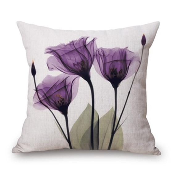 45x45cm Modern Ink Painting Flower flax Throw Pillow Case Waist Cushion Cover purple