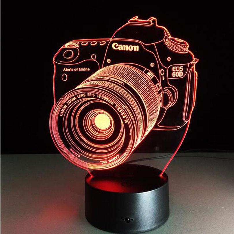 Novelty 3D Entertainment Camera Illusion LED Lamp USB Table Light RGB Night Light Romantic Bedside Decoration Lamp Luminaria