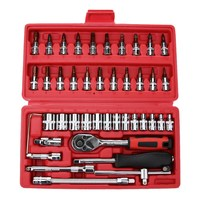 46pcs/set Screwdriver Spanner Socket Set 1/4 inch Car Repair Tool Ratchet Wrench Screw Set Tool Combination Bit Set Tool Kit