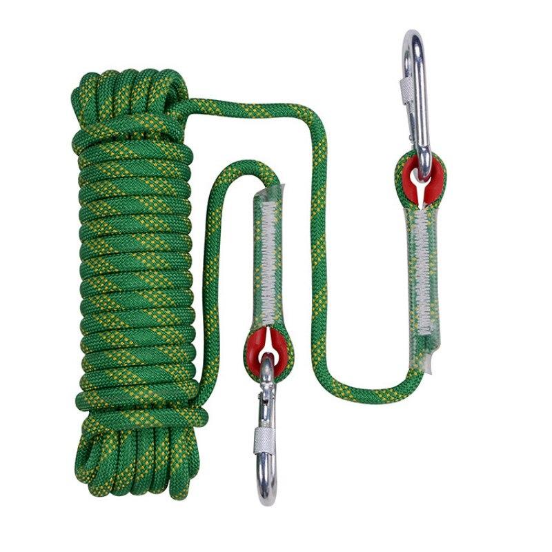 50m X 10mm randonnée rayé boucle survie professionnel escalade corde extérieur Rock cordon sécurité sauvetage cordes avec 2 crochets