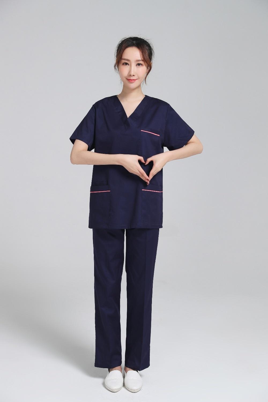 2018 navy blue surgical hospital scrub sets doctor for Spa uniform blue