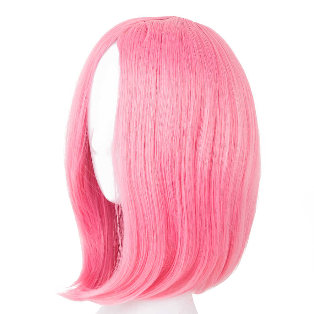 Fei-Show Synthetic Heat Resistant Fiber Short Blonde Wavy Picture Like Bangs Wig Costume Cosplay Salon Party Pink Hairpiece