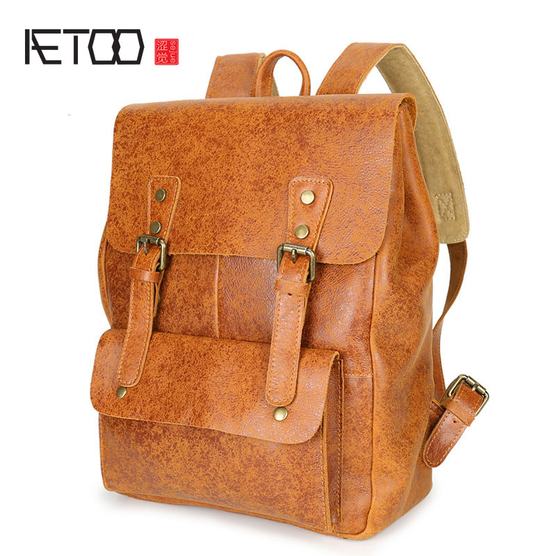 AETOO Shoulder bag male leather male bag retro college wind students men shoulder bag computer bag aetoo original shoulder bag leather retro backpack business computer bag head layer leather travel male bag college wind