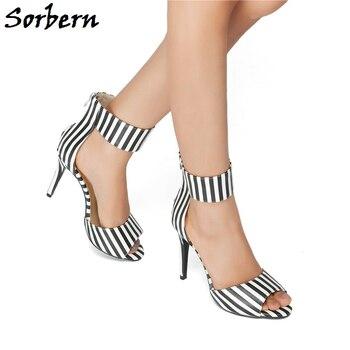 Sorbern Open Toe Heels Sandals Summer Custom Made Designer Brand Shoes Women High Quality Sweet Party Ladies Sandals Zipper