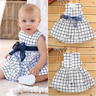 Cotton Baby Toddler Cute Girl Kids Plaids Bownot Sleeveless Dress Outfit Pricess Clothes Dress with O-Neck