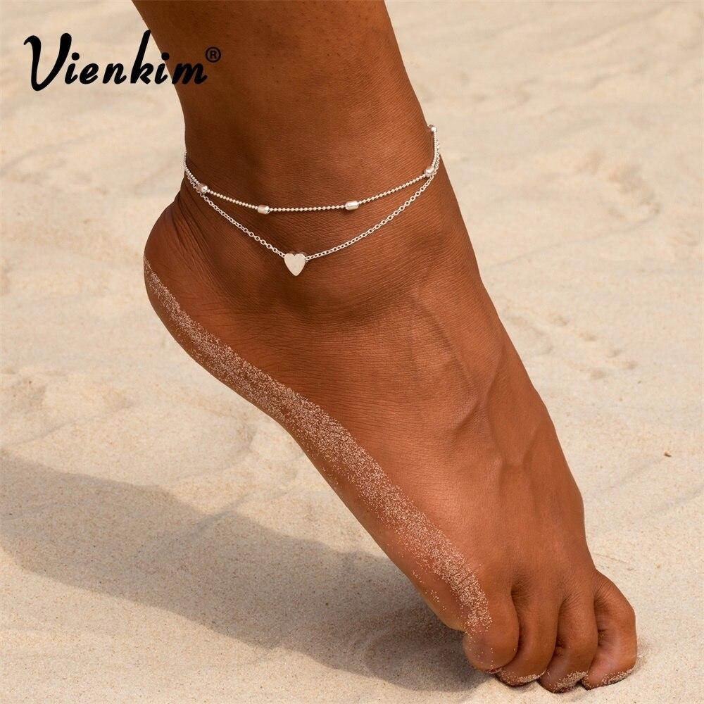 Vienkim Women 2019 Women Anklets Simple Heart Barefoot Crochet Sandals Foot Jewelry Two Layer Foot Legs Bracelet Anklets